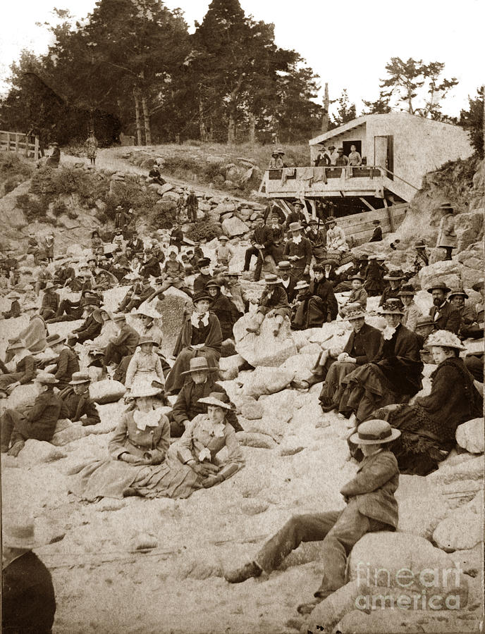 Early beach-goers at the Main beach near Lovers Point Pacific Grove  circa 1885 by California Views Archives Mr Pat Hathaway Archives