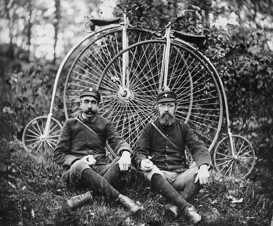 Early Bicyclists Taking A Break By Photograph by Bettmann