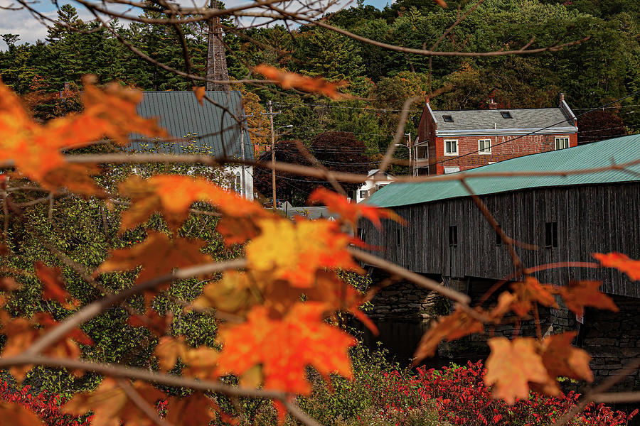 Early fall color at the Bath Covered Bridge by Jeff Folger