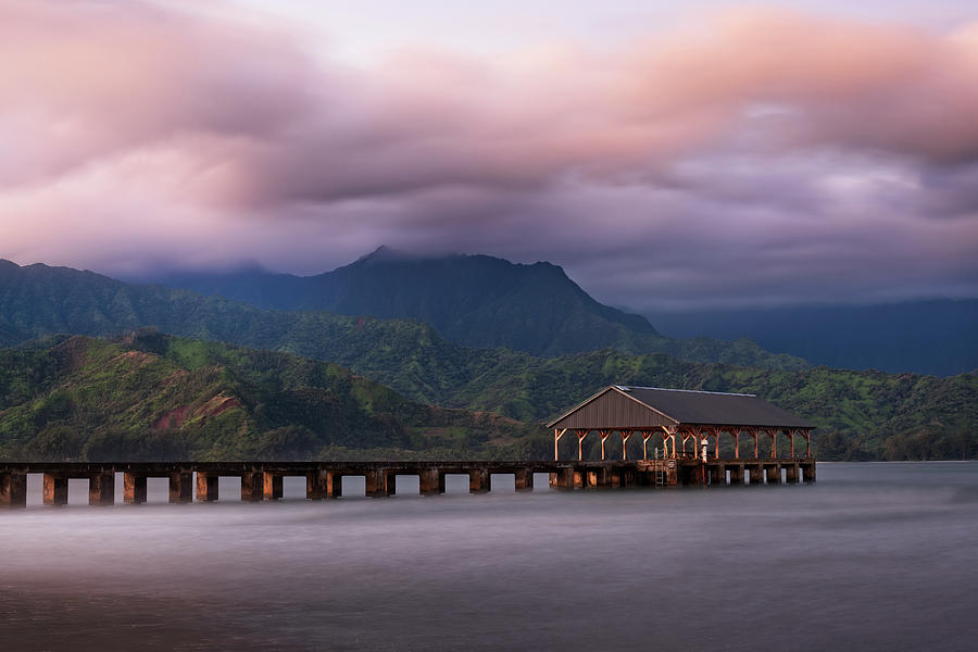 Early Morning at The Hanalei Pier by John Hight