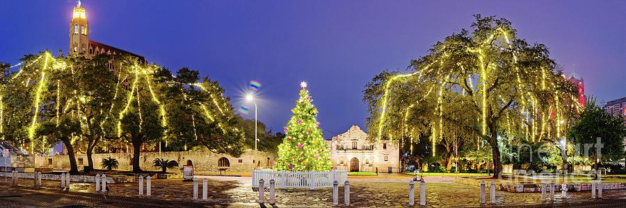 Remember Photograph - Early Morning Panorama Of Christmas Tree And Lights At The Alamo Mission - San Antonio Texas by Silvio Ligutti