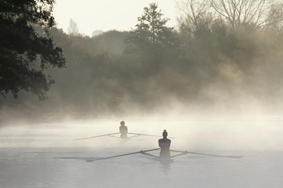 Early Morning Rowing Practice On The Photograph by Jon Bower At Apexphotos