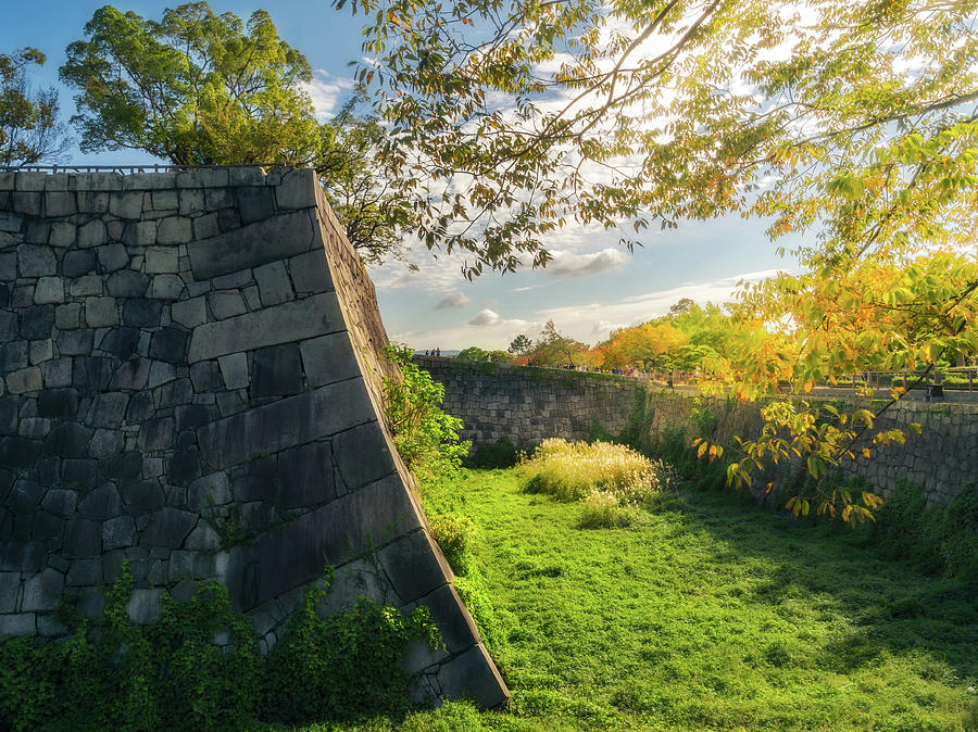 Early morning sun at the moat and fortifications of Osaka Castle by Daniela Constantinescu