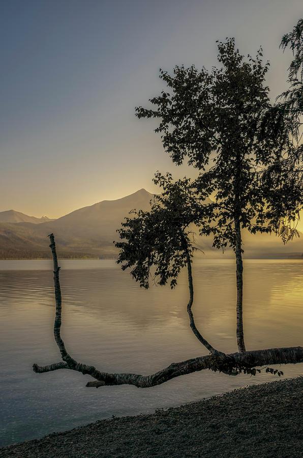 Early Morning Sunrise on Lake McDonald by Roderick Bley