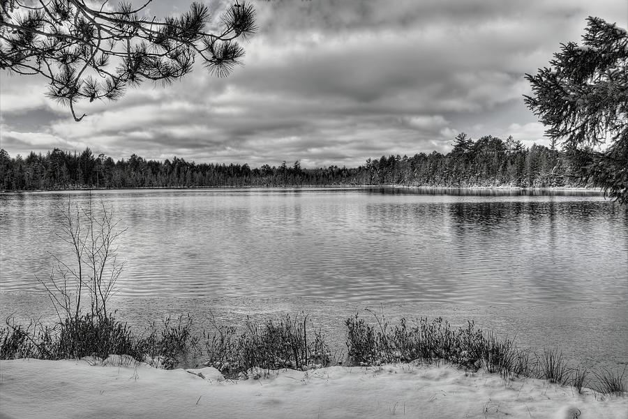Early Winter On Swanson Lake BW by Dale Kauzlaric