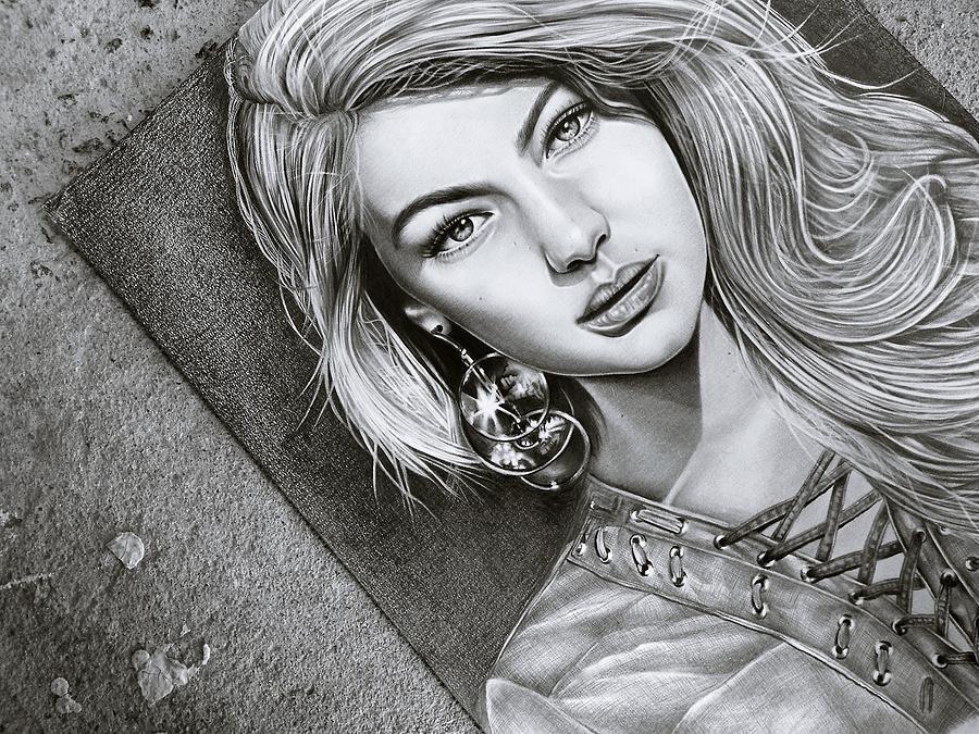 Earrings Drawing - Earrings And Girl by ArtMarketJapan