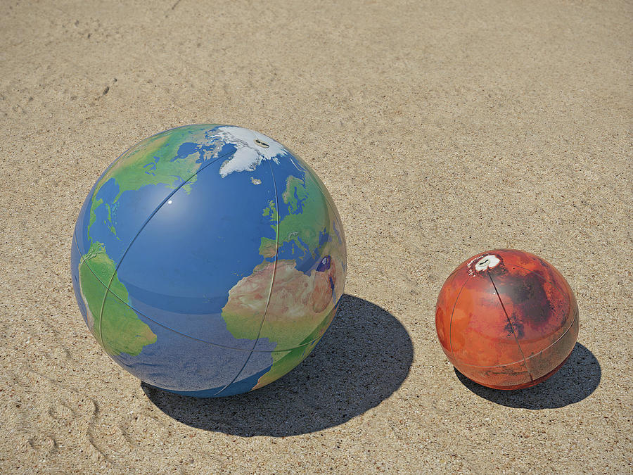 Earth and Mars on the beach by Frans Blok