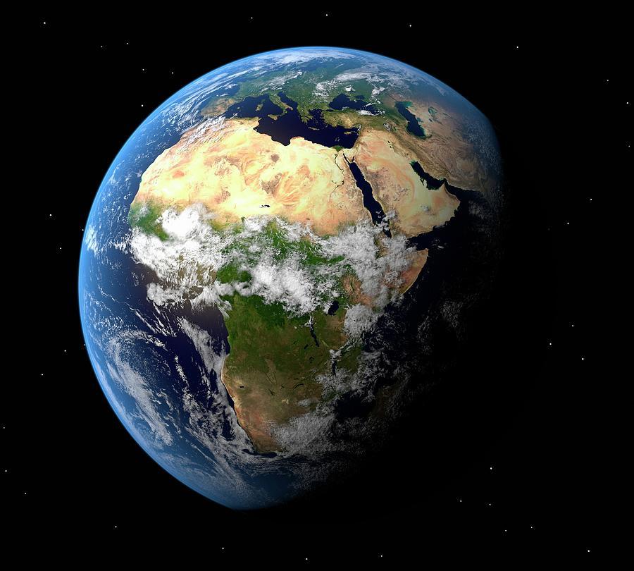 Earth, Artwork Digital Art by Science Photo Library - Roger Harris.