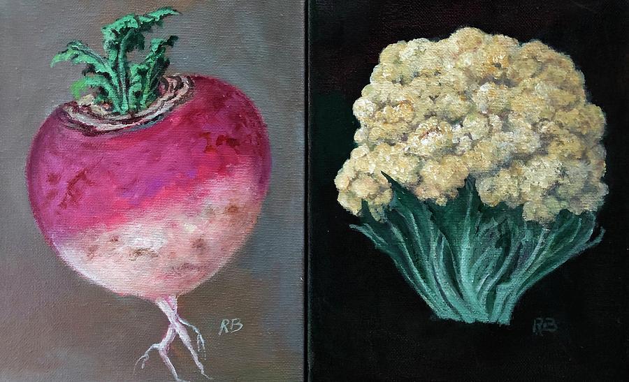 Earth Harvest Series - Turnip And Cauliflower by Randy Burns