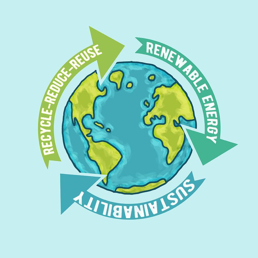 Earth Digital Art - Earth Sustainability by Laura Ostrowski