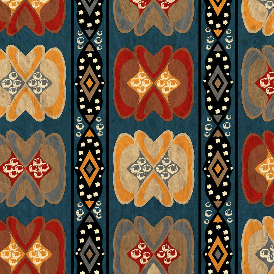 East African Heart And Diamond Stripe Pattern Digital Art