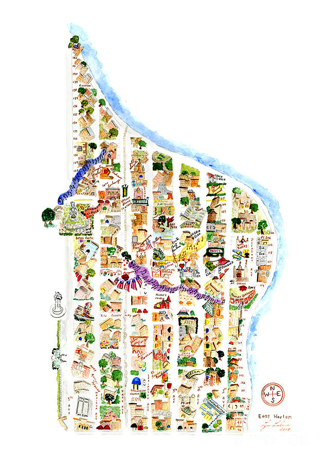 East Harlem Map by Afinelyne