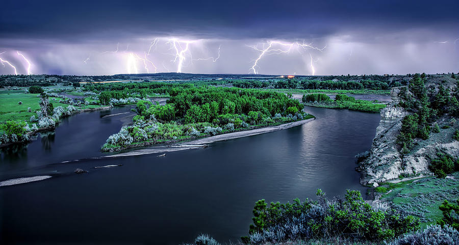 East Montana Lightning Storm by Leland D Howard