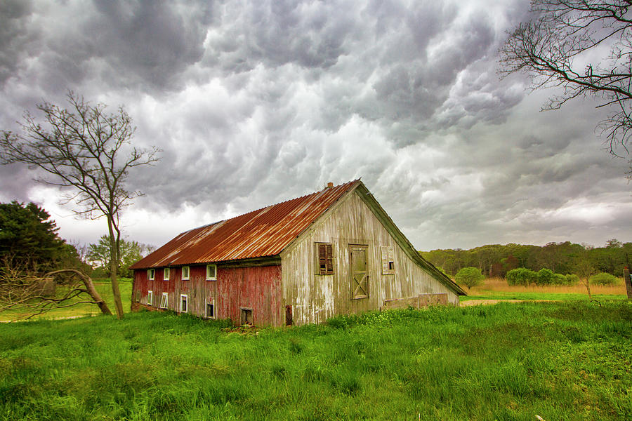 East Moriches Red Barn Storm by Robert Seifert
