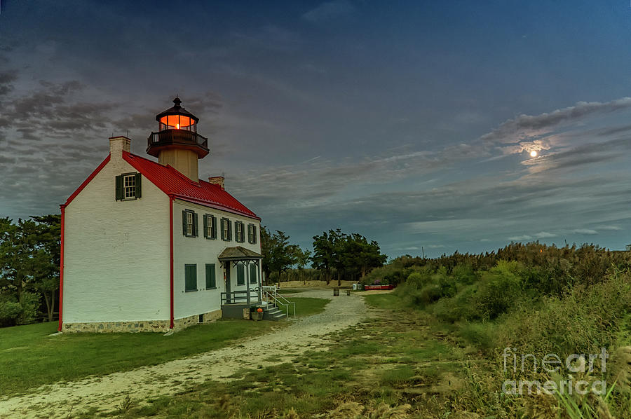 East Point Lighthouse in Moonlight by Debra Fedchin