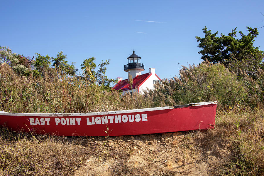 East Point Lighthouse with canoe by Karen Foley