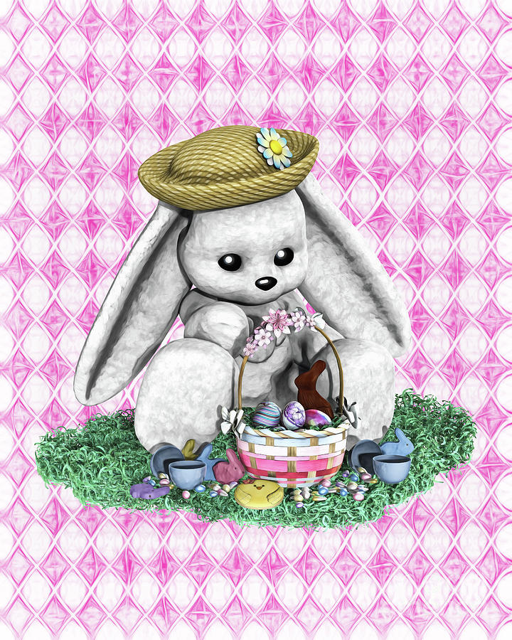 Easter Bunny and Basket by Methune Hively