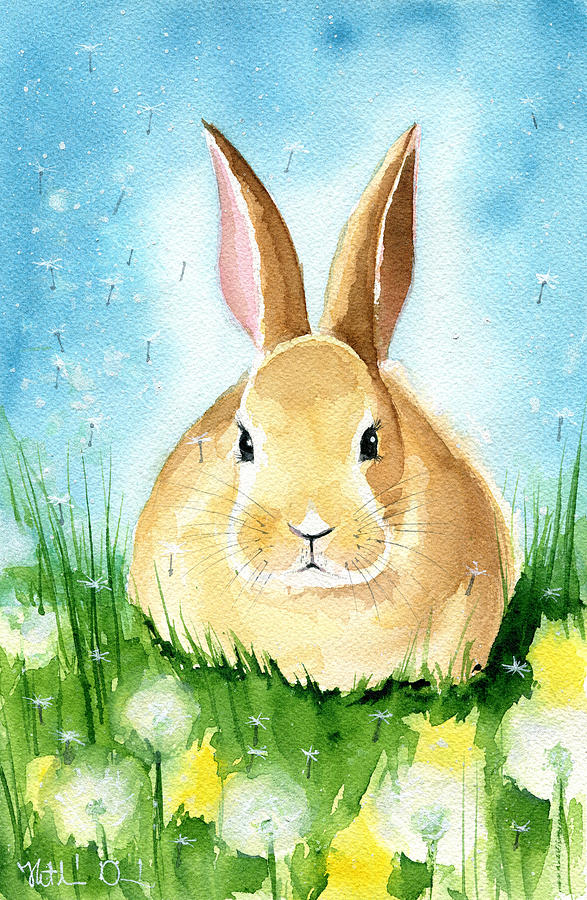 Easter Bunny With Dandelions by Dora Hathazi Mendes