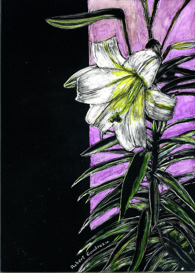 Holiday Painting - Easter Lily by Robert Goudreau
