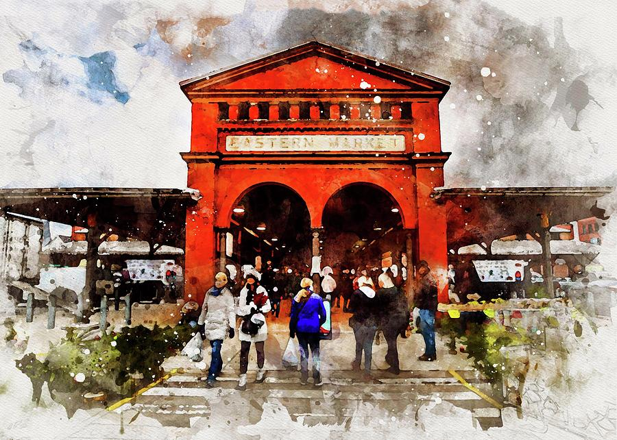 Eastern Market Watercolor by Michael Thomas