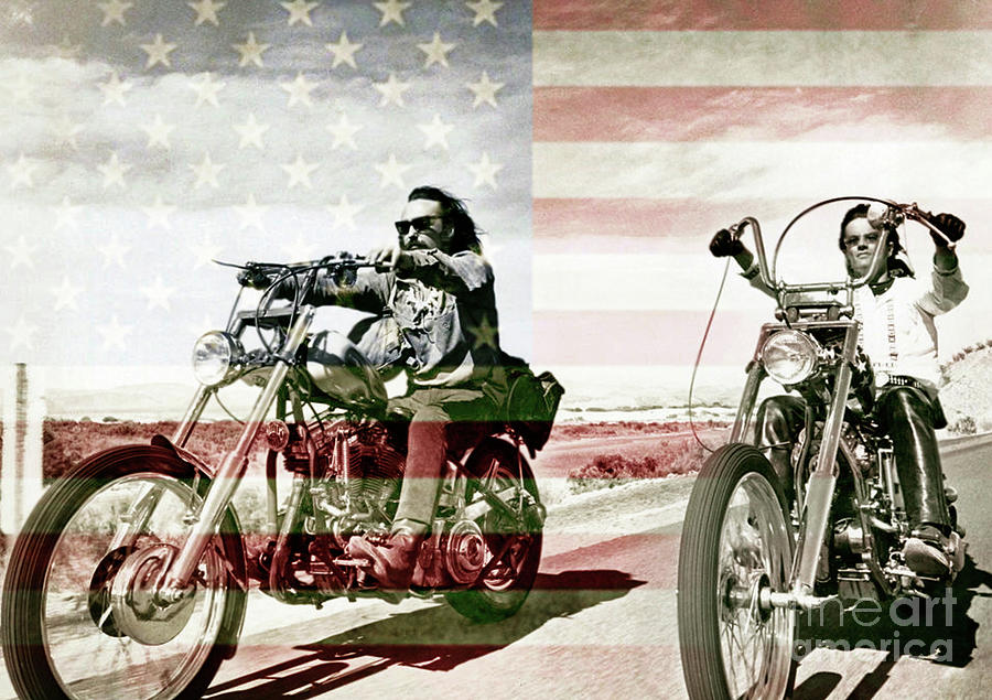 easy rider peter fonda dennis hopper mixed media by thomas pollart. Black Bedroom Furniture Sets. Home Design Ideas