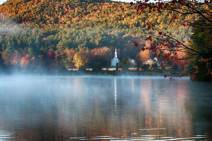Eaton NH little white church with fall foliage by Jeff Folger