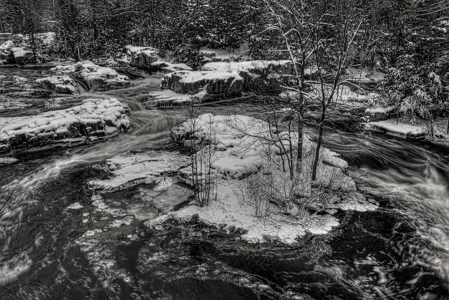 Eau Claire Dells Snow Covered Island BW by Dale Kauzlaric
