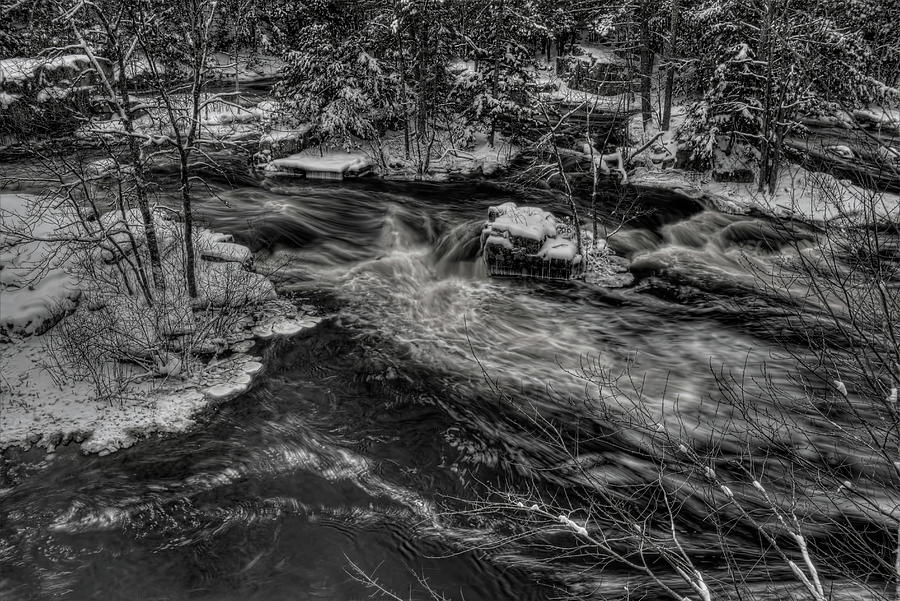 Eau Claire River Through Snow Covered Islands BW by Dale Kauzlaric