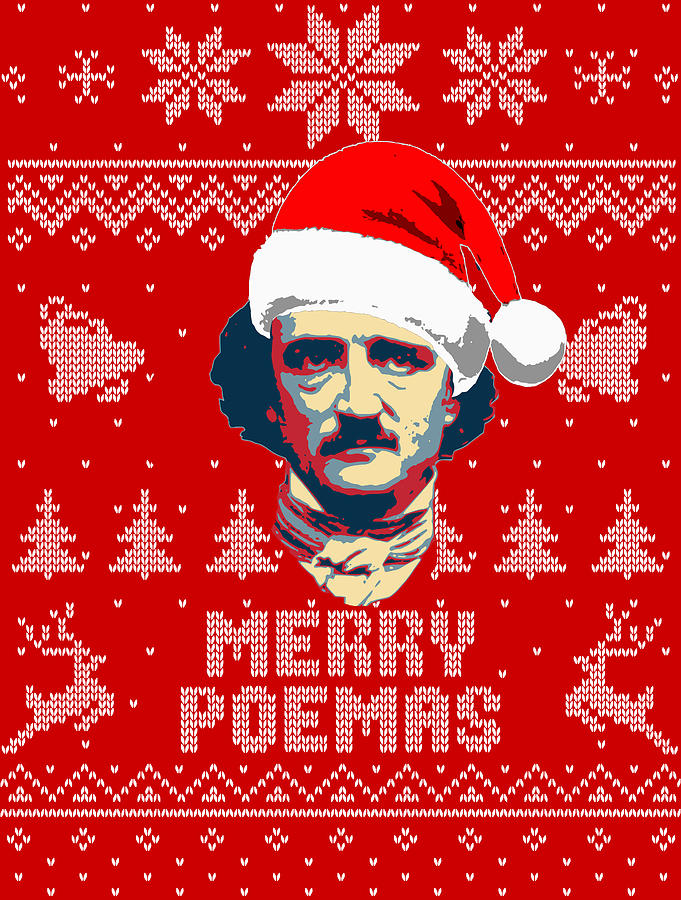 Santa Digital Art - Edgar Allan Poe Merry Poemas by Filip Hellman