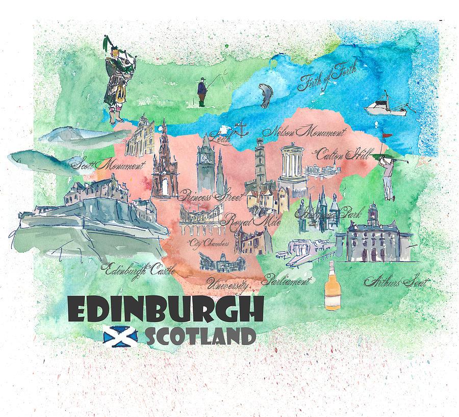 Edinburgh Scotland Travel Poster Favorite Map Painting by M Bleichner