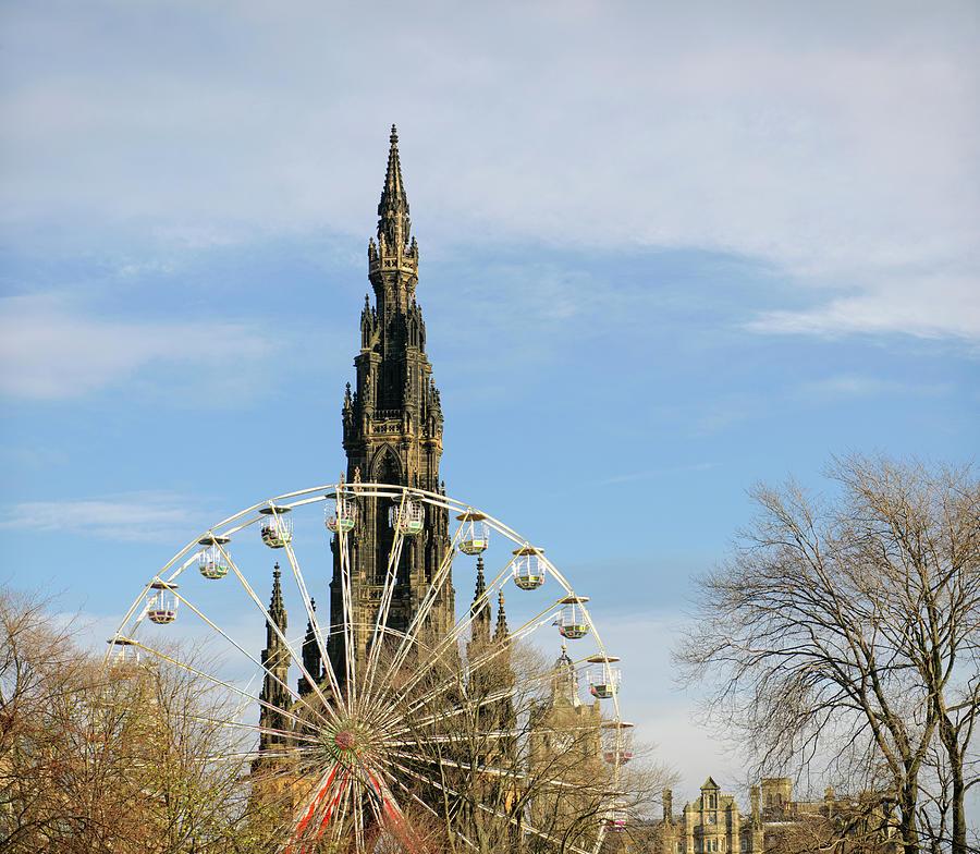 Edinburgh Scott Monument And Ferris Photograph by Georgeclerk