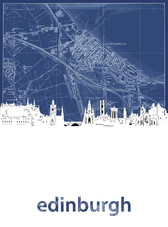 Edinburgh Digital Art - Edinburgh Skyline Map Blue by Bekim M