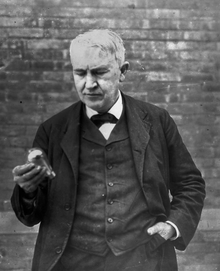 Edison And Bulb Photograph by Hulton Archive