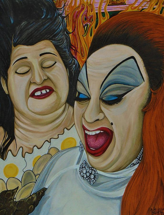 Edith and Divine in Pink flamingos  by SAM HANE