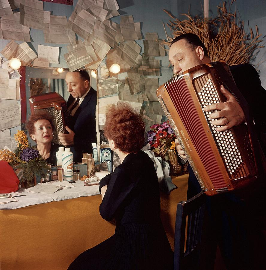 Edith Piaf And Marc Bonel In Paris Photograph by Jean Mainbourg