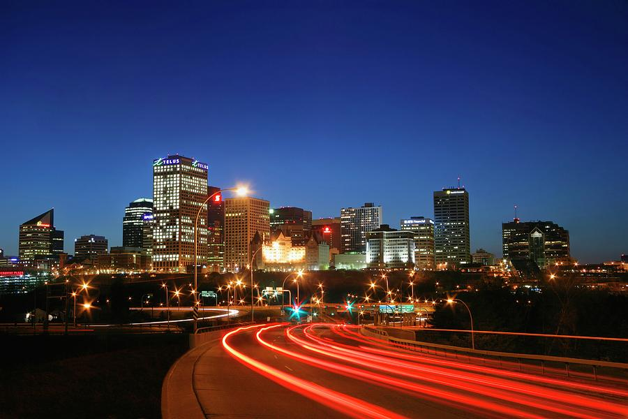 Edmonton Skyline With Lights On Road Photograph by Design Pics