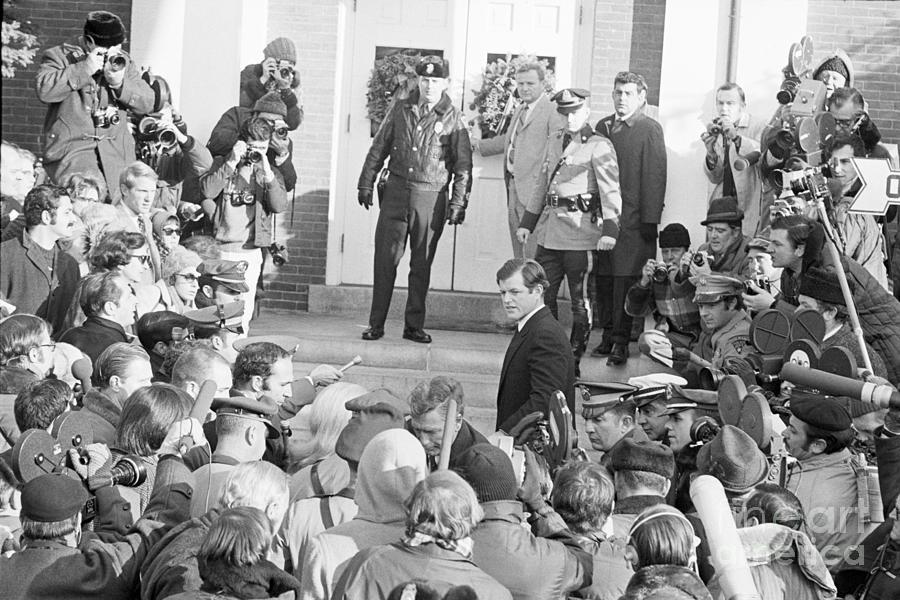Edward Kennedy Entering Courthouse Amid Photograph by Bettmann