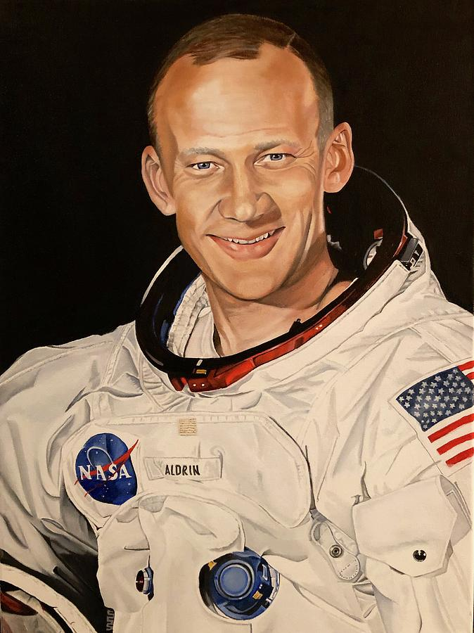 Apollo Painting - Edwin Buzz Aldrin by Brian Broadway