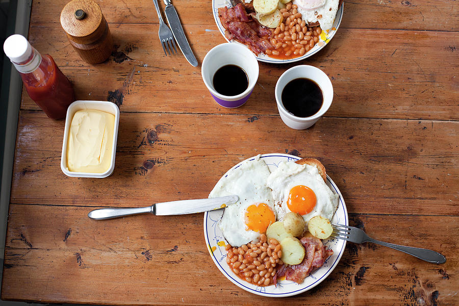 Egg, Bacon And Beans Breakfast On Photograph by Jorn Georg Tomter