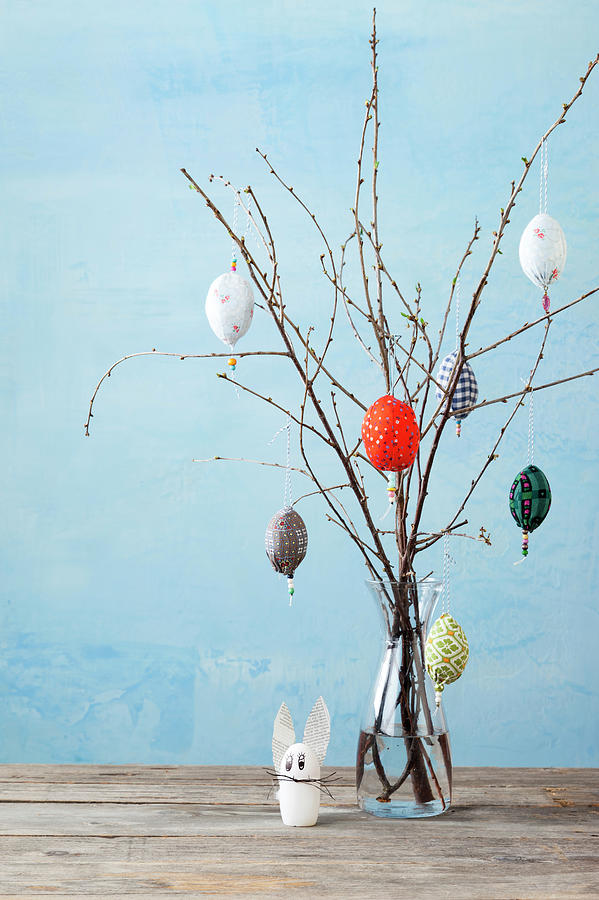 Egg-shaped Decorations On Branches Photograph by Stefanie Grewel