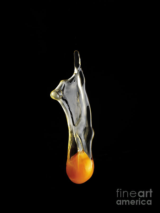 Gluten Photograph - Egg Yolk Dripping, Falling, On Black by Melodia Plus Photos