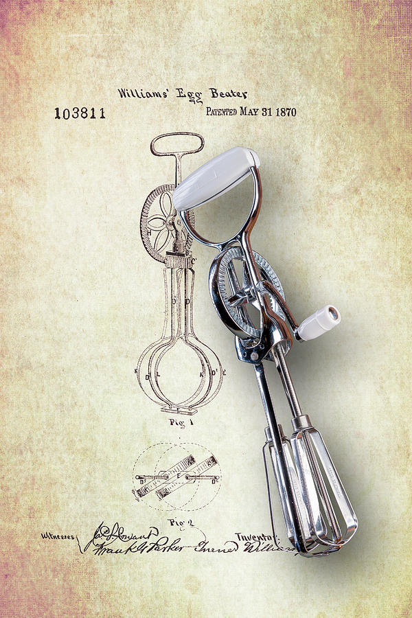 Eggbeater Photograph - Eggbeater With Antique Eggbeater Patent by Tom Mc Nemar