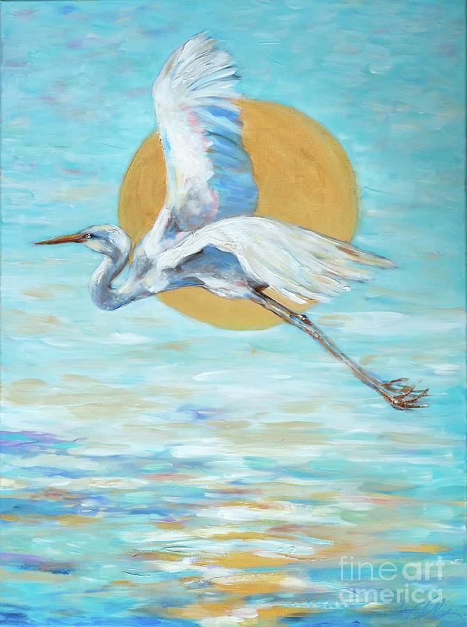 Egret in Flight by Linda Olsen