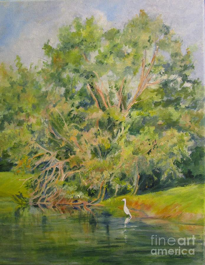 Impressionistic Landscape Painting - Egret On The Waterway by Barbara Moak