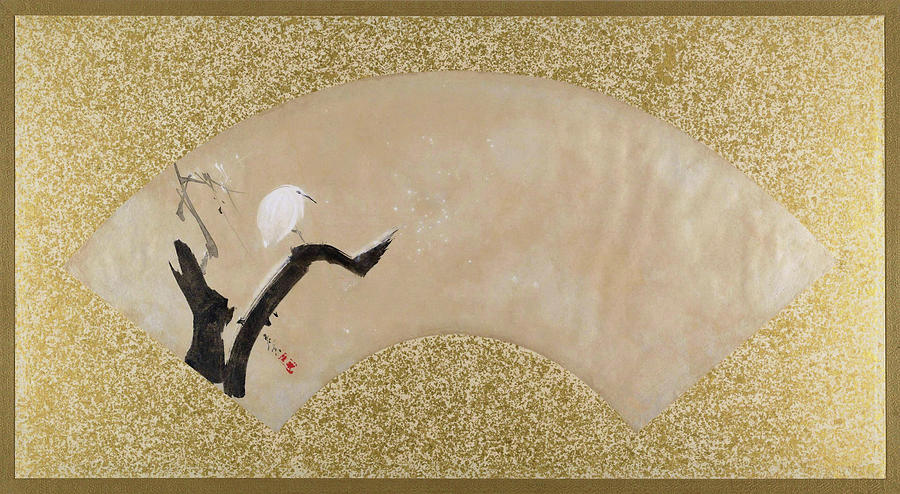 Shibata Zeshin Painting - Egret On Tree Stump - Digital Remastered Edition by Shibata Zeshin