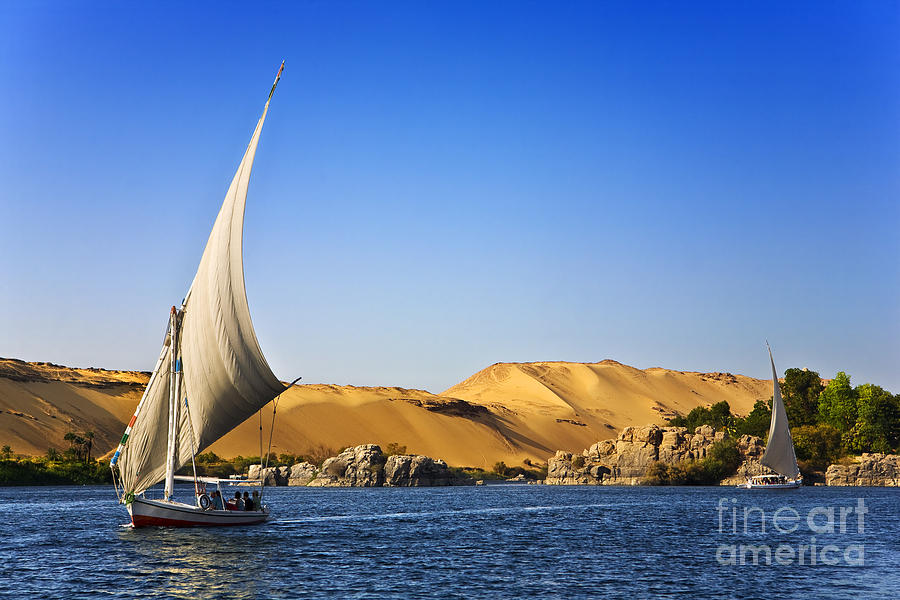 Sky Photograph - Egypt. The Nile At Aswan by Witr