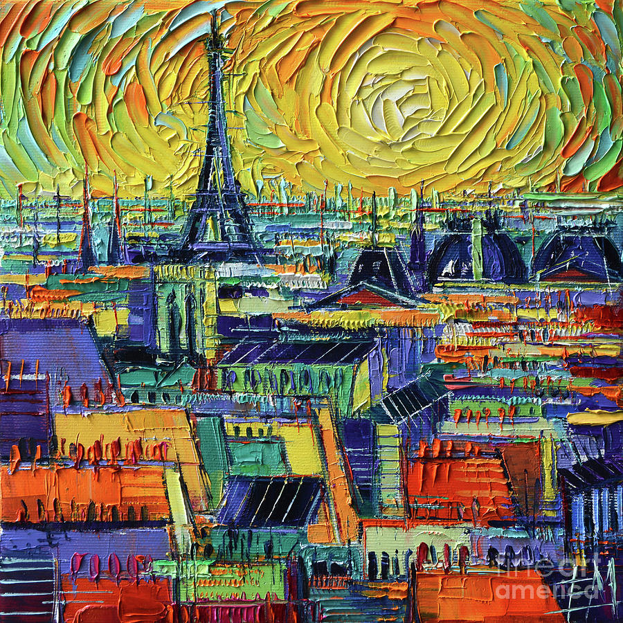 Paris Rooftops Painting - Eiffel Tower And Paris Rooftops In Sunlight Textural Impressionist Stylized Cityscape Mona Edulesco by Mona Edulesco