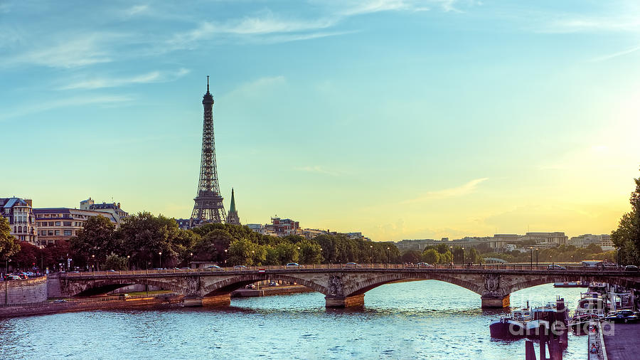 City Photograph - Eiffel Tower And Seine River Panoramic by Hipgnosis