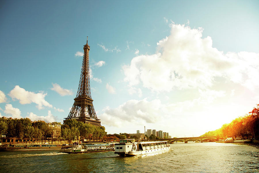 Eiffel Tower And The River Seine Photograph by Vintagerobot