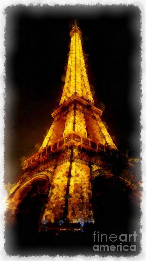 Eiffel Tower Digital Art - Eiffel Tower Night Paris France Watercolor by Edward Fielding